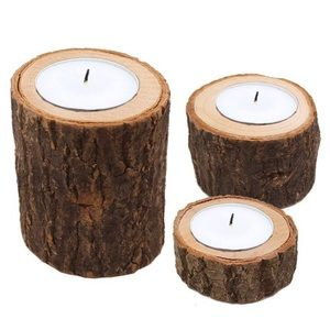 Other - Rustic Farmhouse Wood Log Candle Pillar Set